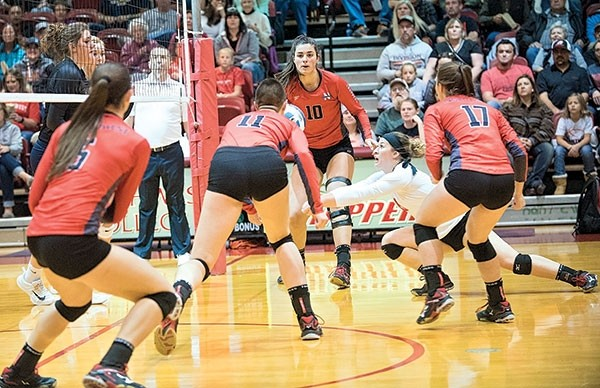 NWC Trapper libero and Powell native Bre Donarski goes for a dig Friday night in a home game against Laramie County Community College. Also pictured are Trappers Shania Warren (5) Holly Pittman (11) Aleksandra Saric (10) and Demery Dean (17).