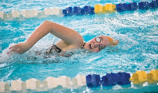 Powell High School junior Gracie McLain competes in the 200 freestyle in Cody on Friday where she swam to a sixth place finish in 2:37.78.