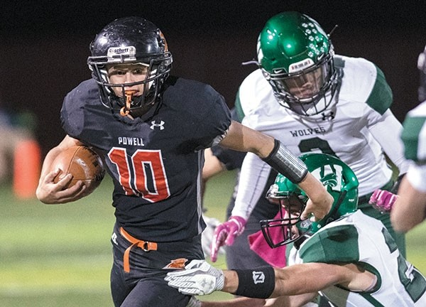 Panther quarterback Kaelan Groves looks for daylight against Green River in a game earlier this month. The Panthers traveled to Afton Friday to take on the defending state champion Star Valley Braves, losing 40-7.