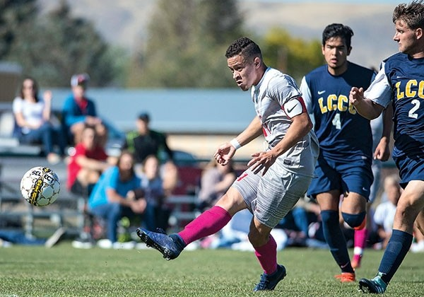 Trappers midfielder Aaron Kovac boots the ball down the pitch Saturday against LCCC at Trapper Field. NWC won the game 2-1, sweeping the season series against the Golden Eagles for the first time in program history.