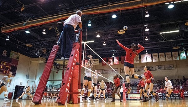 Shania Warren (5) attempts a kill in the third set against Sheridan College at Cabre Gym on the Northwest College campus on Thursday, Sept. 28.