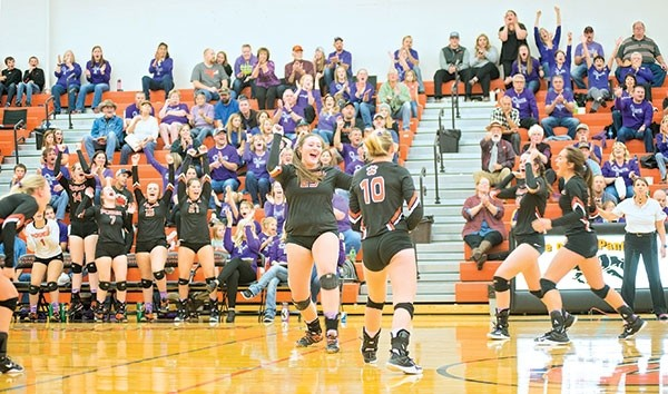 Powell High School seniors Rachel Bonander, No. 25 and Brook Sweet, No. 10 — joined by other members of the team and the crowd — cheer after a Lady Panthers point during the first set of a match against Lander on Friday night.