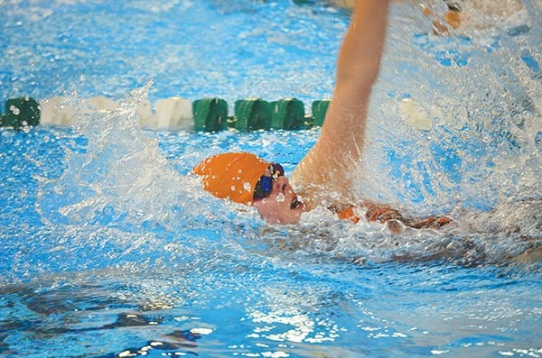 Powell High School senior JuliaKay O'Neill swims to a second place finish in the 100 yard backstroke with a time  of 1:06.00 at Saturday's Sublette County Invitational in Pinedale.