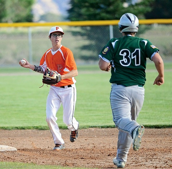 Pioneer Reece Hackenberg prepares to tag second base and put out a Green River opponent during the first game of a Tuesday, June 13 doubleheader.