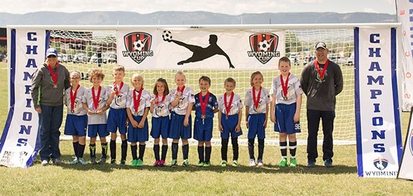 The Heart Mountain United Soccer U10 coed team finished second at the Wyoming Cup Championship and Rec Fest. Pictured (from left) are: coach Carrie Peters, Emily Orr, Breckyn Kobbe, Sean Ferguson, Cayden Fink, Taylor Peters, Brenna Henderson, Cody Fisher, Braxton Batt, Coy Erickson, Kaden Hammond and coach Brian Orr.