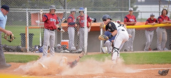 Powell Pioneer catcher Cameron Schmidt waits for the call from umpire Duane Farley as a Billings Halo player slides home on May 14. The Pioneers faced the younger Billings Legion team, the Angels, last weekend on the road and lost a doubleheader.