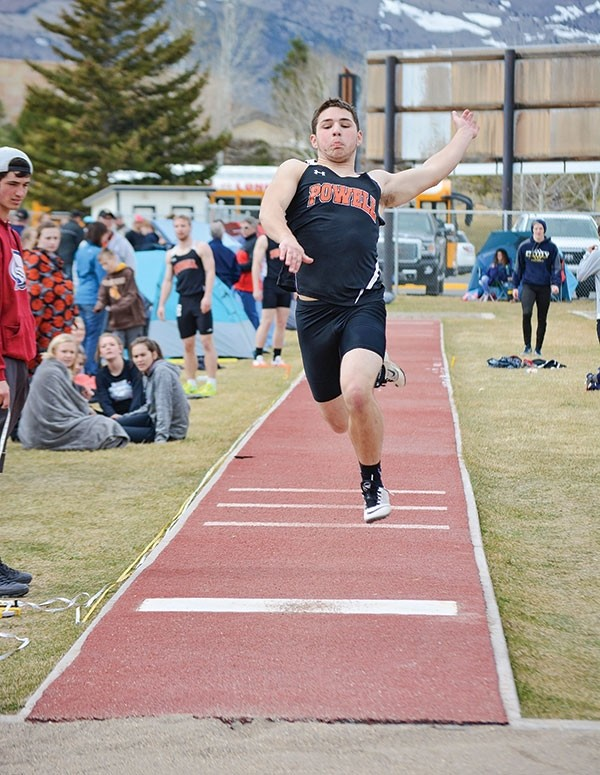 AJ Lewis competes in the long jump during the Yellowstone Sports Medicine Invitational in Cody on Saturday. Lewis placed eighth with a jump of 18 feet, 11.5 inches.