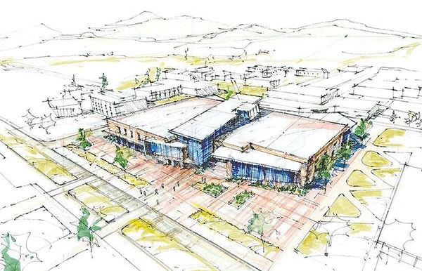 This concept drawing provides a glimpse into what a new student center might look like when built in place of the DeWitt Student Center on the Northwest College campus.