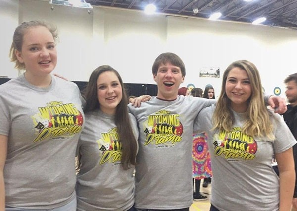 Powell High School students Taeli Hessenthaler, Madyson Riedinger, Wade Musso and Kenadee Bott competed at the state drama competition over the weekend. The PHS team won first place in overall sweepstakes for 3A teams. PHS competed against all schools and would have also tied for first place in the 4A division, said coach Bob Hunt.