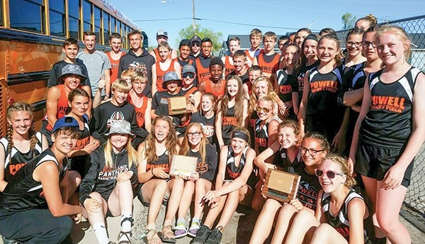 Members of the Powell Middle School track and field teams pose earlier this month at the Best of the Best Meet in Lander. The Cubs and Lady Cubs combined for 104 personal bests, broke two school records and tied another at the meet.