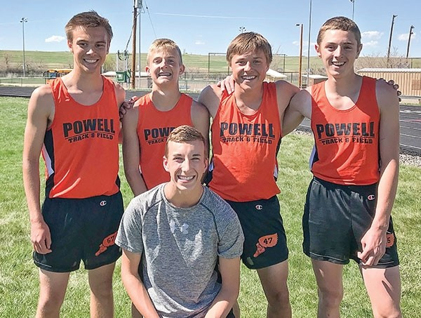 The Powell Middle School eighth-grade boys' 1600 meter relay team broke a school record at the Best of the Best Track Meet in Lander earlier this month. Pictured here, the team of Jace Bohlman, Keaton Rowton, Reed Smith and Cole Frank ran a 3:49.87, breaking the previous record of 3:55.5 set in 1998. Kneeling is Ben Whitlock, who normally runs in the relay but was injured.