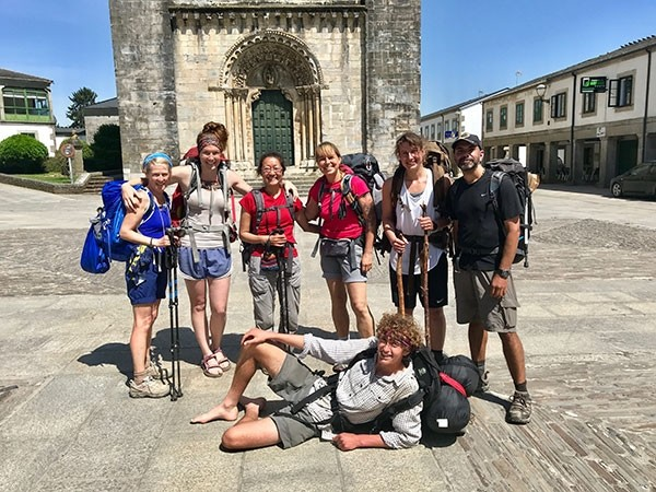 Virginia Schmidt formed unforgettable memories with the people she met on The Camino Frances. Pictured in the Spanish city of Portomarín are (from left) Carol from Ireland, Virginia (from Cody), Nina from Canada, Sabina from Germany, Julia from Germany, Ravi from Canada and Ollie (front) from Australia.