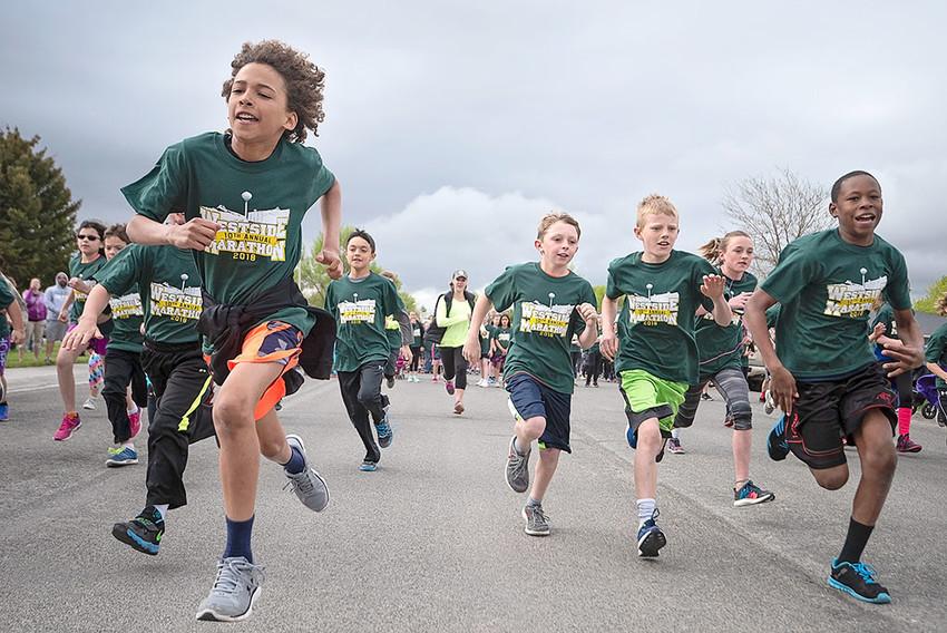(From left), Alex Jordan, Trevion Solberg, Brody Payne, McKale Foley, Karee Cooley and Max Reynolds kick off their final mile of the Westside Marathon.