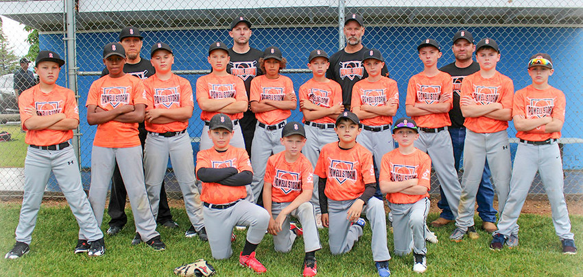 The Powell Storm 12U baseball team recently finished its inaugural season, posting a record of 3-6-1. PIctured from left are, back row: Coaches Waleryan Wisniewski, Derek Solberg, Heath Worstell and Brett Fauskee; second row: Keona Wisniewski, Max Reynolds, Aiden Greenwald, Zane Craft, Alex Jordan, Dalton Worstell, Tevon Schultz, Isaih Woyak, Brock Johnson and Dillon Payne; and kneeling: Luke Eastman, Cole Fauskee, Trevion Solberg and Brody Payne.