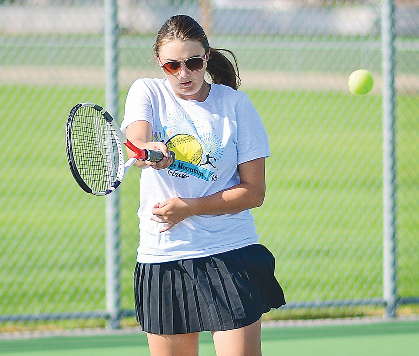 Lady Panther Ashley Dunkerley returns a serve at a recent practice on the Powell High School courts. The PHS tennis teams opened the 2018 season on the road this week, losing at Green River before rebounding against Rock Springs.