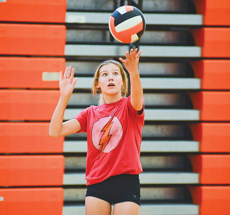 Powell High School volleyball player Ashlyn Shorb gets ready to serve the ball during a practice Thursday evening at the Powell High School gym. The Lady Panthers open the season Friday at the Riverton Invite.