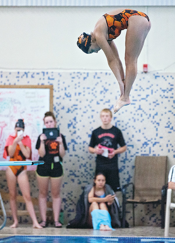 Lady Panther Emma Karhu competes in the diving portion of Saturday's Bruce Gresly Pentathlon in Lander.