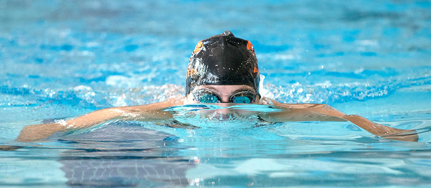 Powell's Caitlyn Miner swims the breaststroke leg of the 200-yard IM on her way to winning the event in Cody on Friday.
