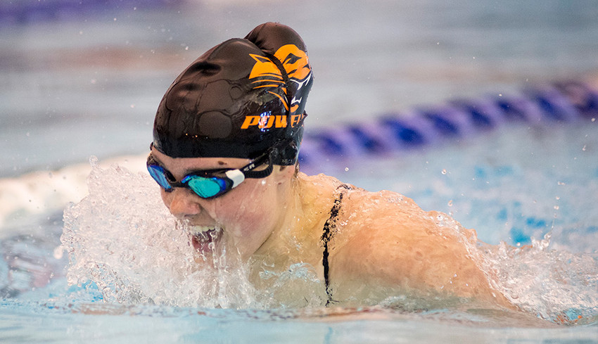 Powell's Ashlyn Aguirre swims the breaststroke leg of the 200 IM en route to a second place finish in a Tuesday dual with Cody. Aguirre finished with a time of 2.43:41. Powell's Sidney O'Brien won the event with a time of 2.43:32. Full results from the competition will follow in next week's Tribune.