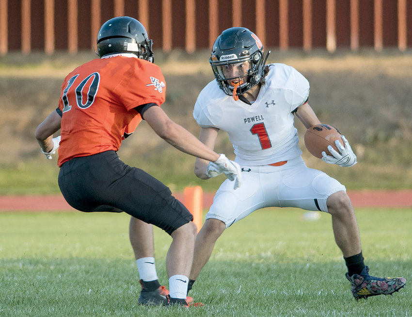 Panther return specialist Kanyon Gann puts a move on Worland's Luke Mortimer in a game earlier this season in Worland. Gann caught a touchdown pass from Ethan Asher on Friday at Green River, the lone Powell score in a 28-6 loss.