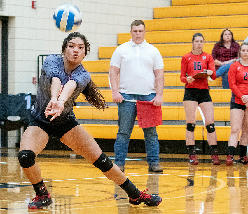 Northwest libero Geena Graff makes a dig on a shot against Eastern Wyoming Saturday in Torrington. The Lady Trappers won the match in three sets, securing the No. 2 seed out of the north for this week's Region IX Tournament in Cheyenne.