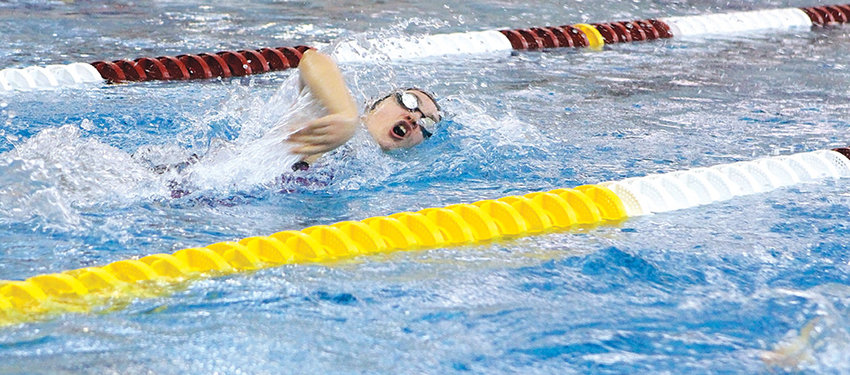 Powell sophomore Elizabeth Liggett swims to a third-place finish in the 500 freestyle at the 3A Swimming and Diving Championships in Laramie Saturday. The Lady Panthers finished second in the meet as a team behind Lander.