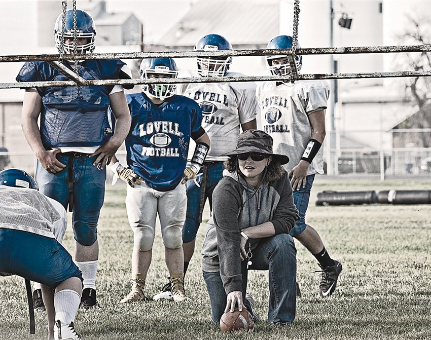 Lovell head football coach Jeny Gardner works with her team during a practice before the start of the 2018 season. Gardner, the first female head coach in the history of Wyoming high school football, was released last week after one season, posting a 1-7 record.