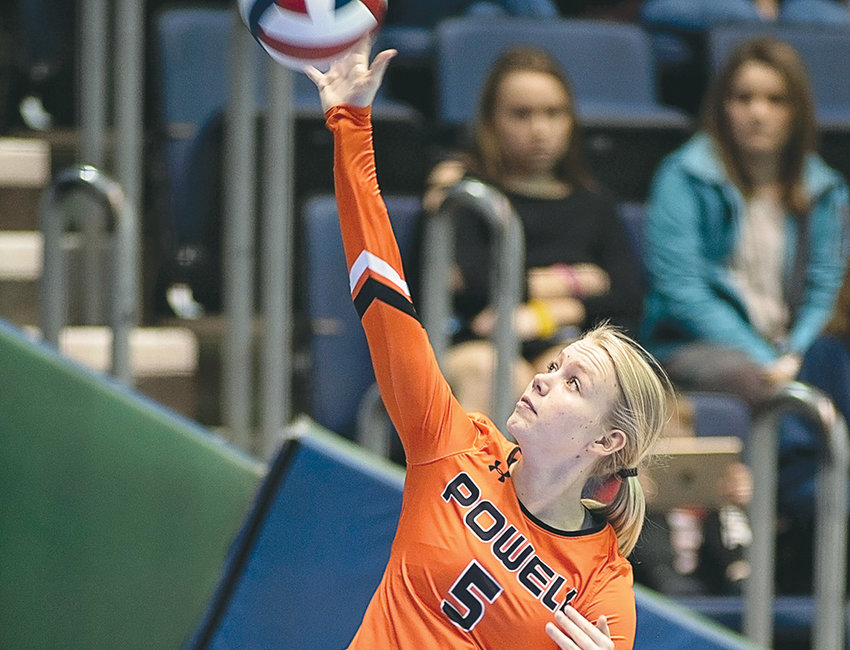 Natalie Ostermiller serves during a game at the 3A State Volleyball Tournament earlier this month in Casper.