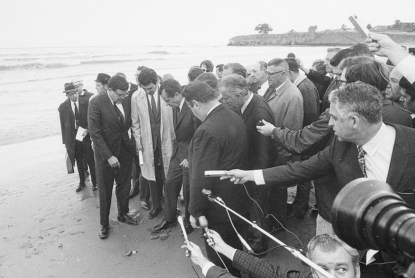 Former president Richard M. Nixon toes the sand at the Santa Barbara, California, beach after an oil spill at the pristine location caused an uproar in 1969. The spill in Nixon's backyard — the president was from Yorba Linda, California — helped influence the environmental revolution of the late 1960s and early 70s. The Nixon administration signed 14 pieces of major legislation as safeguards for the environment that continue to affect Wyoming and the rest of the country today.