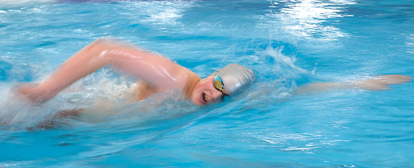 Freshman Panther swimmer Josh Wright swims the 500 freestyle during the Gene Dozah Invitational Saturday in Powell, finishing sixth. The Panthers will travel to Worland Saturday to compete in the Worland Invitational.