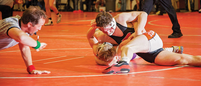 Panther wrestler Reese Karst gets the upper hand against his opponent during last weekend's Tom LeProwse Invitational in Bozeman, Montana. Karst finished third at 138 pounds, while the Panthers placed 12th out of 29 teams.