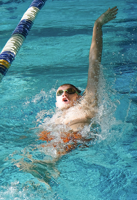 Panther swimmer Richard Spann, seen here swimming the 100 backstroke at a previous competition held in Cody, continued to impress with strong swims at Saturday's Worland Invitational. Spann finished second in the 100 backstroke and swam a season best in the 100 free with a time of 53.41.