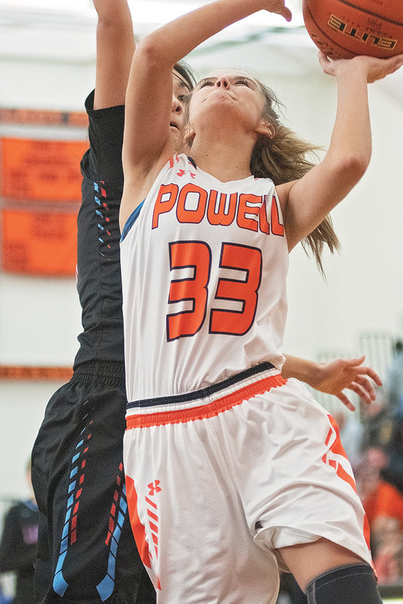 Powell senior Brea Terry battles for a shot against Wyoming Indian Saturday during the championship game of the Big Horn Basin Classic at Panther Gym. The Lady Panthers came up short in the contest, losing to the Lady Chiefs 61-57.
