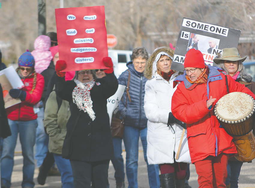 Mary Keller leads a march around City Park in Cody at the conclusion of the 2019 Women and Allies March Saturday afternoon. Organized by Wyoming Rising, the event encouraged participants to 'share your vision for a more equal, just and compassionate future.'