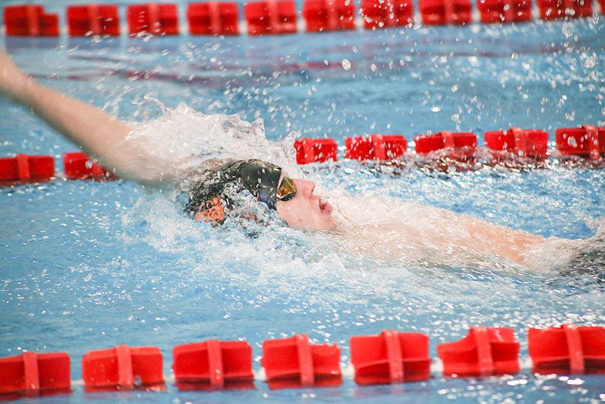Powell swimmer Richard Spann swims the first leg of the 200 medley relay last weekend at the 3A West Conference Championship in Riverton. Spann and his teammates Nate Johnston, Jay Cox and Bryce Hogen finished second in the event, while the Panthers finished second in team standings.