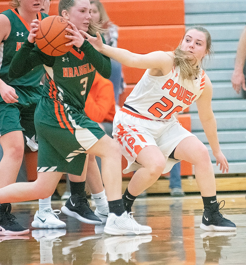 Lady Panther Ashtyn Heny reaches for a steal in a game against Pinedale earlier this month. Heny's 3-pointer in overtime against Thermopolis on Friday put Powell up for good in a 51-47 win.