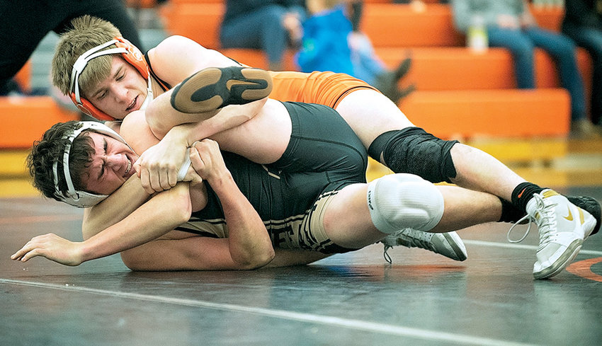 Powell wrestler Seth Horton puts the hurt on Buffalo's Jace Skovgard at Friday's quad meet at Panther Gym. Horton, ranked No. 4 in 3A at 160 pounds, pinned Skovgard in the second round.