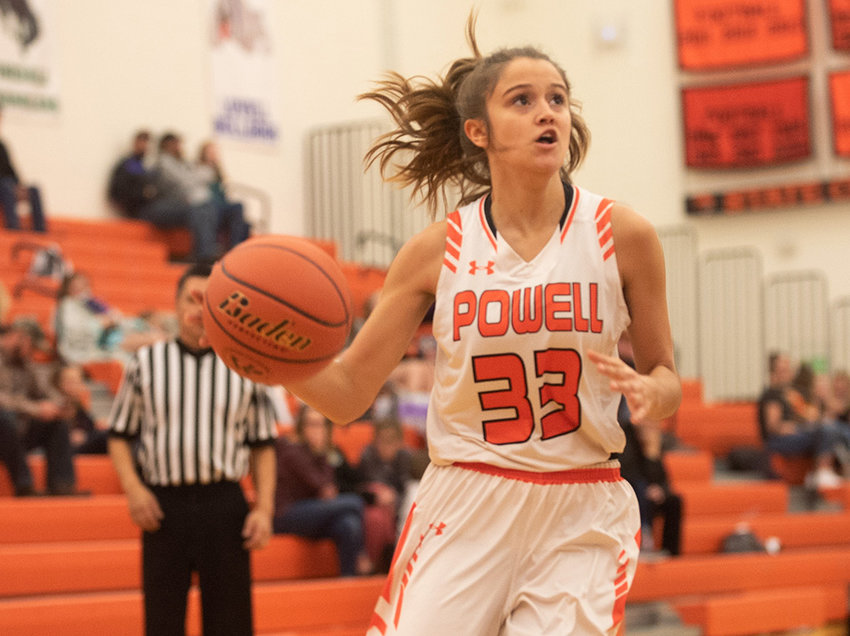 Panther senior Brea Terry drives to the basket in a home game earlier this season. On Friday, Terry scored seven points in a 47-43 win over Lander.