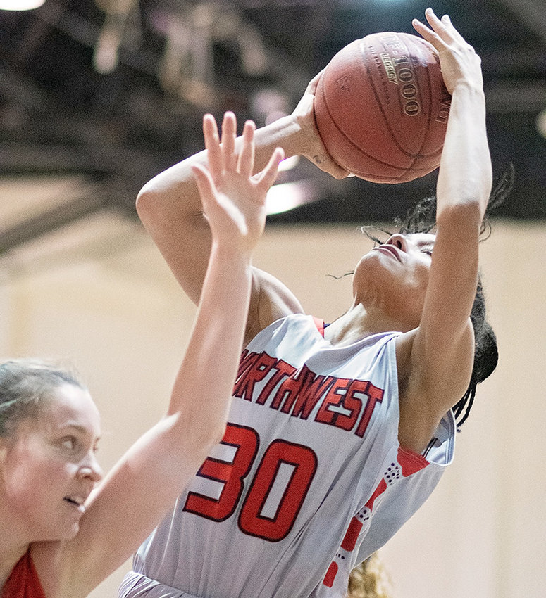 Lady Trapper Selena Cudney battles for an open shot in a 82-46 loss at home against Casper College last week. NWC will wrap up the regular season Saturday at home against Western Wyoming.
