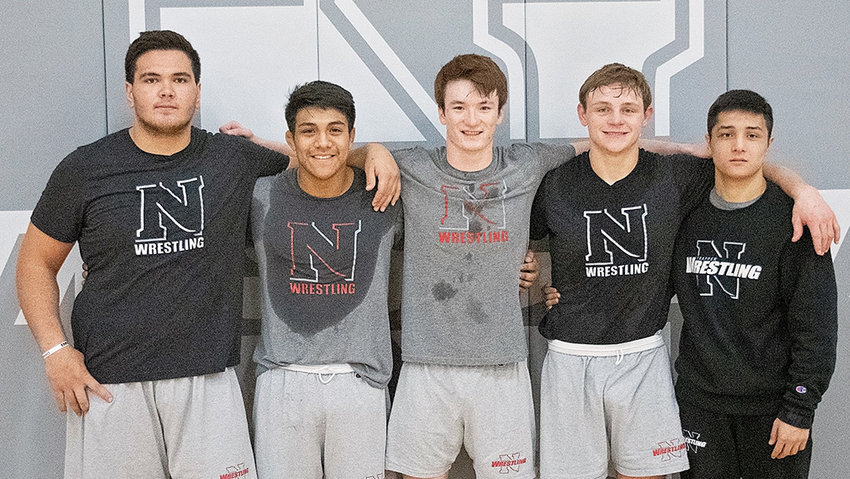 Five members of the Northwest College wrestling team will head to Council Bluffs, Iowa, this weekend to compete in the NJCAA National Wrestling Tournament. Pictured from left are Daniel Jordan, heavyweight; Yair Moran, 174 pounds; Palmer Schafer, 141 pounds; Porter Fox, 184 pounds; and Boburjon Berdiyorov, 133 pounds. The Trappers are coached by Jim Zeigler.