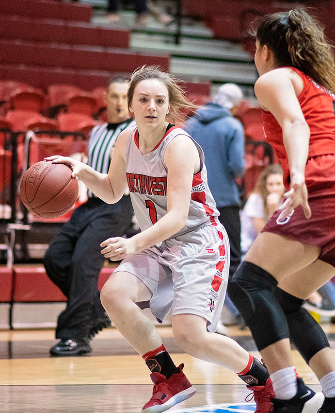 Lady Trapper Kaylee Brown looks for room to move during a game against Casper earlier this season at Cabre Gym. NWC came up short in the Region IX play-in game against the Lady T-Birds Friday, 81-39, to end their season.