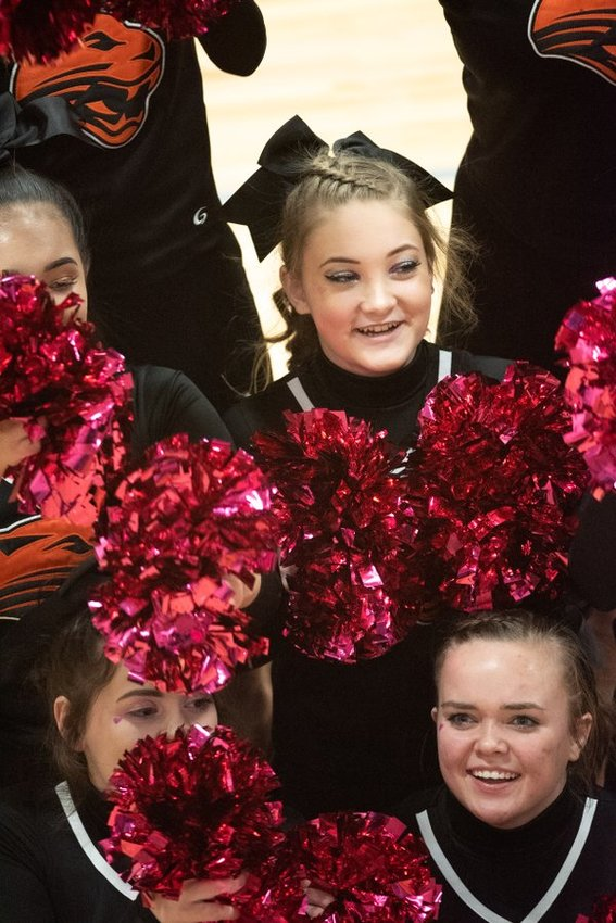 The Powell High School cheer team topped the field in Game Day Cheer during Wednesday's Class 3A State Spirit Competition in Casper.