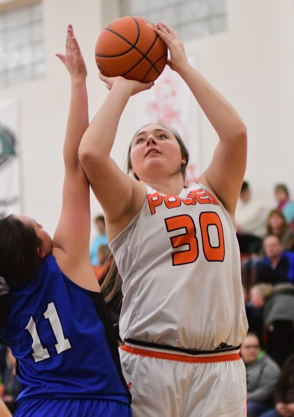 Powell High School senior Rachel Bonander, seen in action earlier this year, paced the Lady Panthers with 19 points and 15 rebounds in 51-50 win over Rawlins on Thursday. The win advanced PHS to Friday's semifinals.