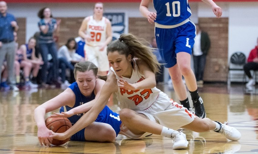 Powell High School senior Brea Terry goes after a loose ball in a 60-30 loss to Lyman on Friday evening. The semi-final game at the Class 3A State Basketball Tournament was played at Casper College.