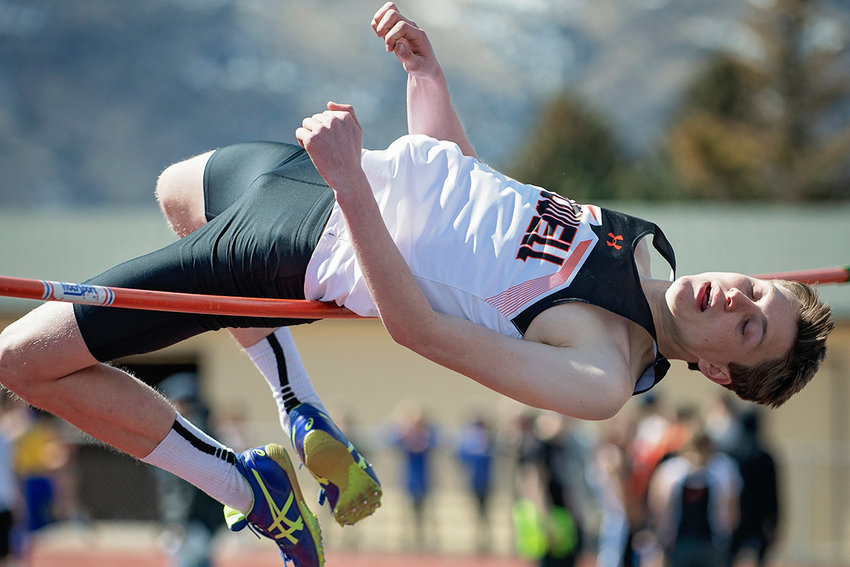PHS track athlete Colby Warner attempts to clear 6 feet en route to a first place finish in the high jump at Saturday's Yellowstone Sports Medicine Invitational in Cody. The Panthers finished second at the meet, while the Lady Panthers finished third.