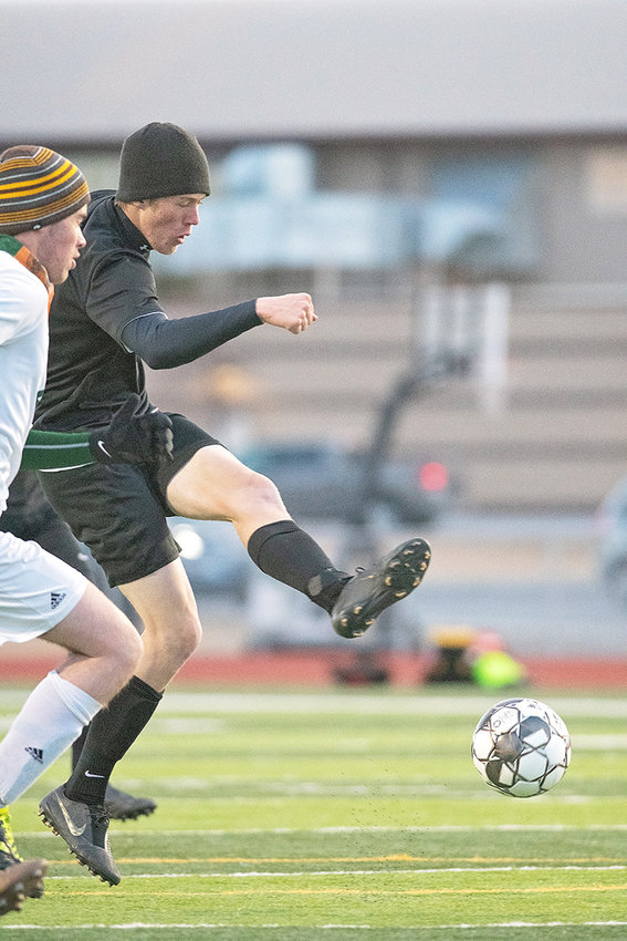 PHS sophomore Sam Bauer takes a shot during the Panthers' 4-1 win over Pinedale on Friday at Panther Stadium. Bauer scored two goals in the contest and assisted on a third.