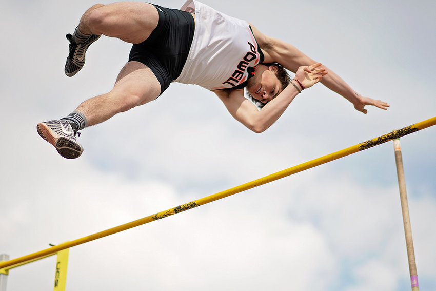 PHS vaulter Reece Hackenberg clears 11 feet, 6 inches en route to a second place finish in the pole vault at Monday's April Fool's Double Duals in Cody. The PHS track and field teams will host the L.A. Kohnke Invitational this weekend at Panther Stadium.