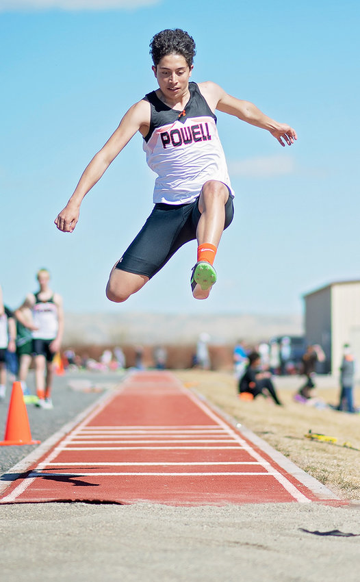 Dylan Escalante competes in the long jump Saturday.