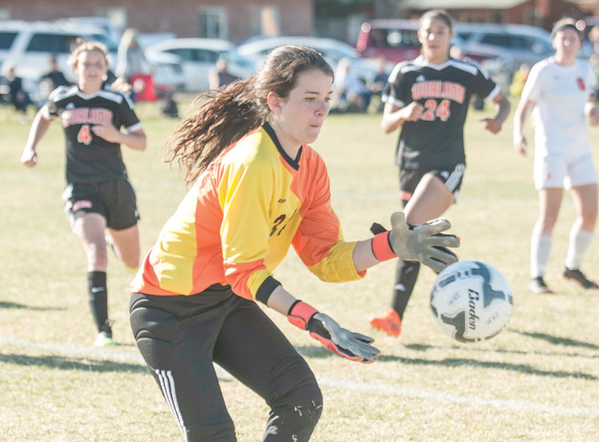 Lady Panther keeper Mattie Larsen makes a save Thursday in a game at Worland. The Lady Warriors won the 3A West contest 5-1.