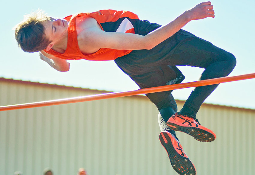Powell Middle School eighth grader Jace Hyde clears the bar at 5 feet during the Powell Invitational meet earlier this month.Hyde finished second in the high jump at last week's Throw Down Jump Off Meet, clearing a height of 5 feet, 2 inches.